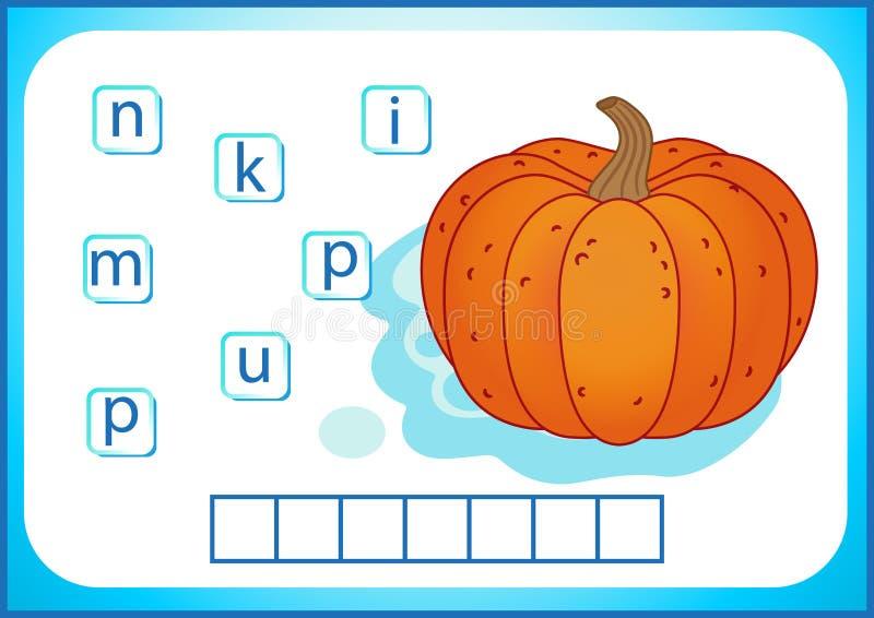 Educación escolar Flashcard inglés para aprender inglés Escribimos los nombres de verduras y de frutas Las palabras son un juego  libre illustration