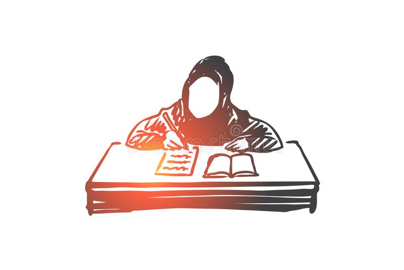 Educación, escuela, aprendiendo, musulmán, árabe, concepto del niño Vector aislado dibujado mano stock de ilustración