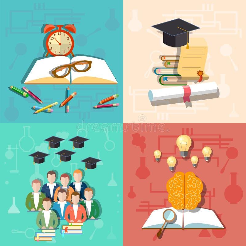 Educación, estudiante, profesor, universidad, universidad, iconos del vector stock de ilustración