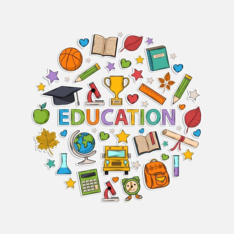 Educación fijada bajo la forma de círculo stock de ilustración