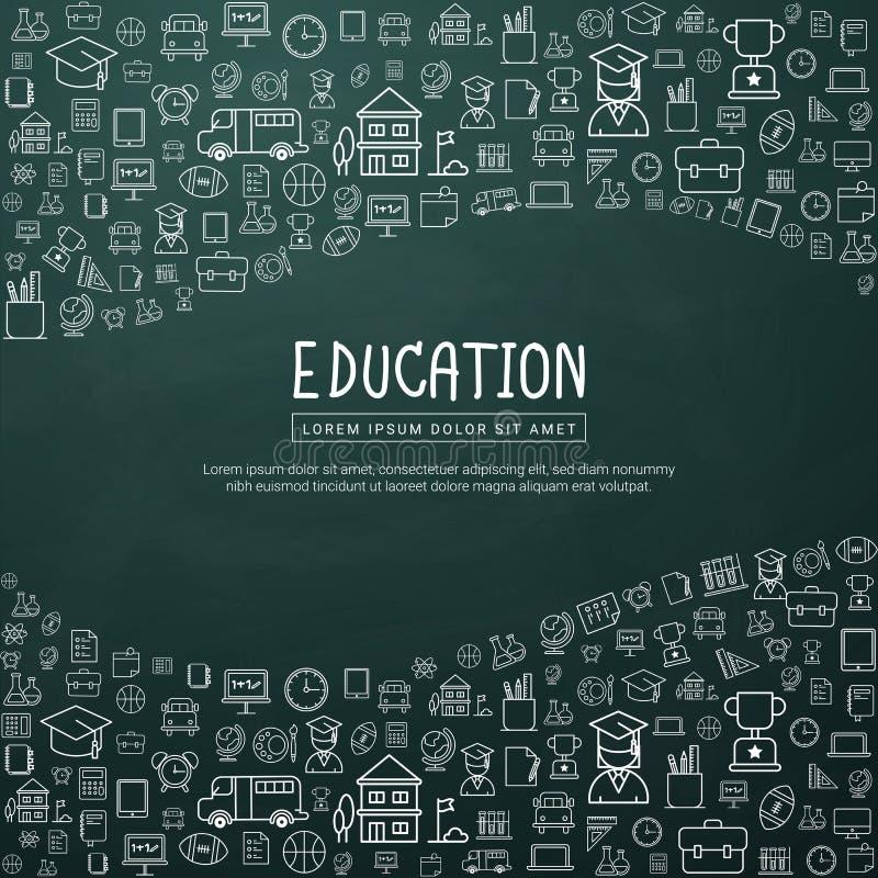 Educación infographic con los iconos dibujados mano de la escuela del garabato libre illustration