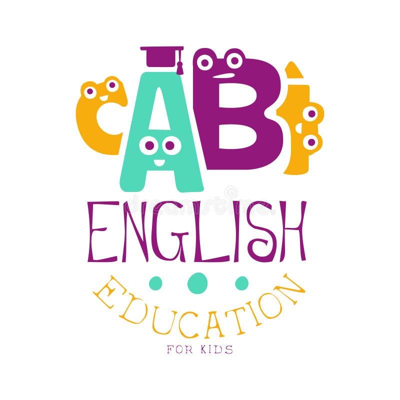 Educación inglesa para el símbolo del logotipo de los niños Etiqueta dibujada mano colorida libre illustration