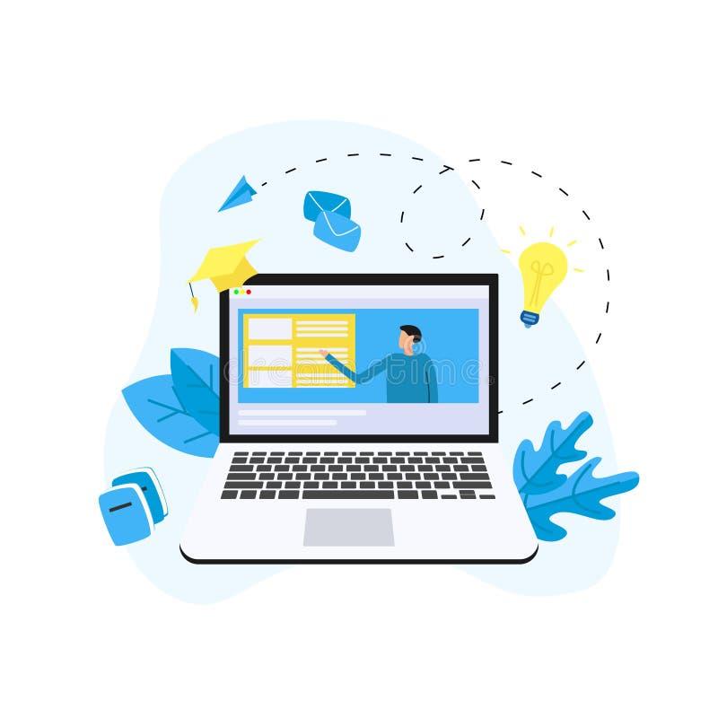 Educación o curso en línea de la web en monitor del ordenador portátil con el profesor de la distancia Concepto del aprendizaje e ilustración del vector