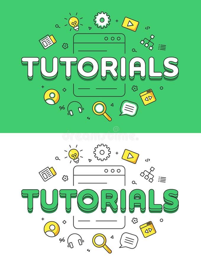 Educación o sistema plana linear de los tutoriales del entrenamiento libre illustration