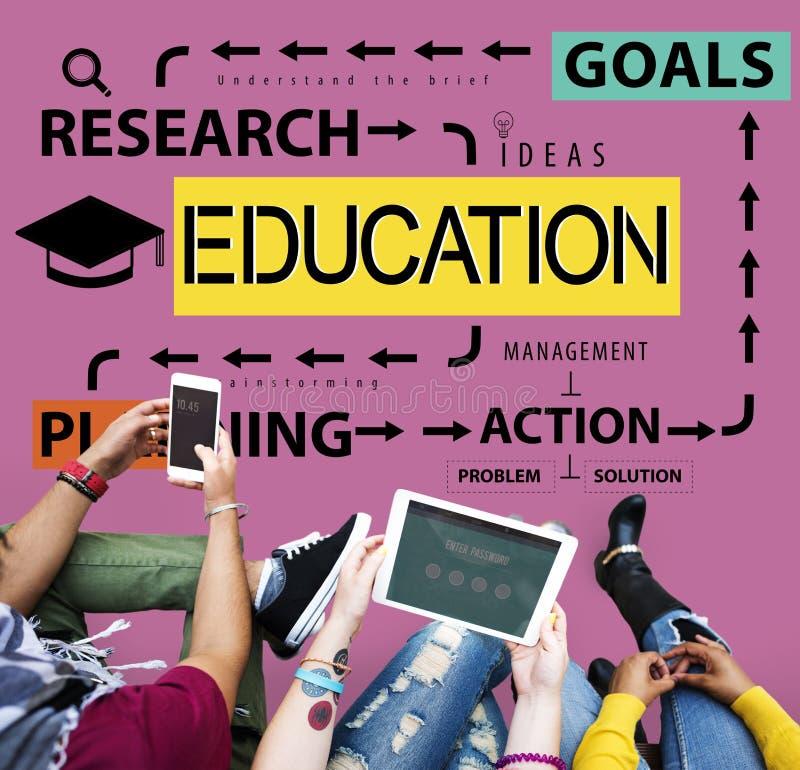 Educación que aprende concepto de las metas de la investigación del estudio fotografía de archivo libre de regalías