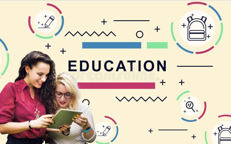 Educación que aprende concepto del gráfico de la gente del desarrollo de los estudiantes foto de archivo libre de regalías