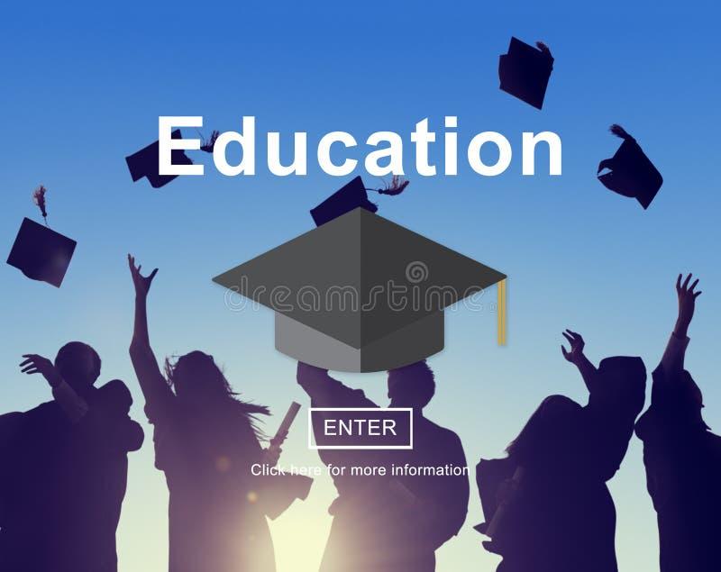 Educación que aprende estudiando concepto del conocimiento de la universidad imagen de archivo