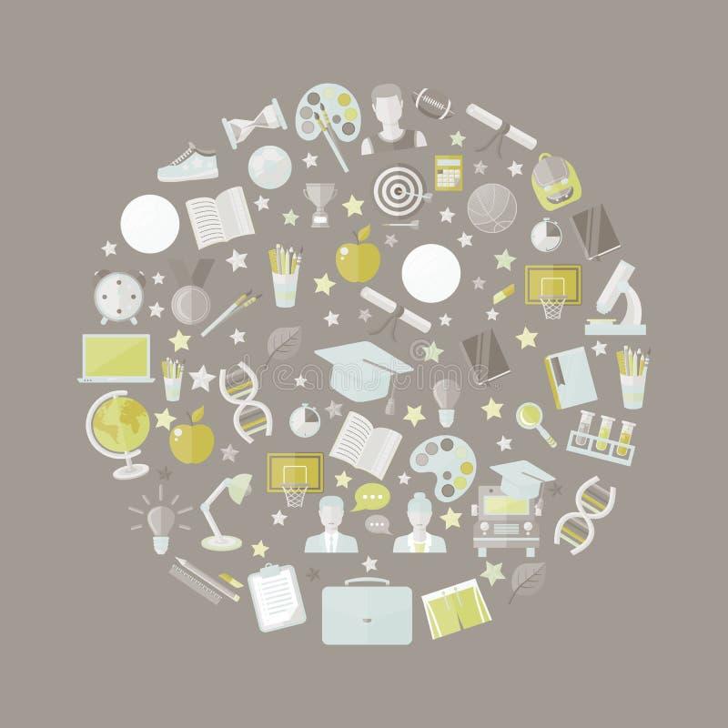 Educación, sistema del icono del conocimiento en círculo en el ejemplo plano del vector del estilo sobre gris stock de ilustración