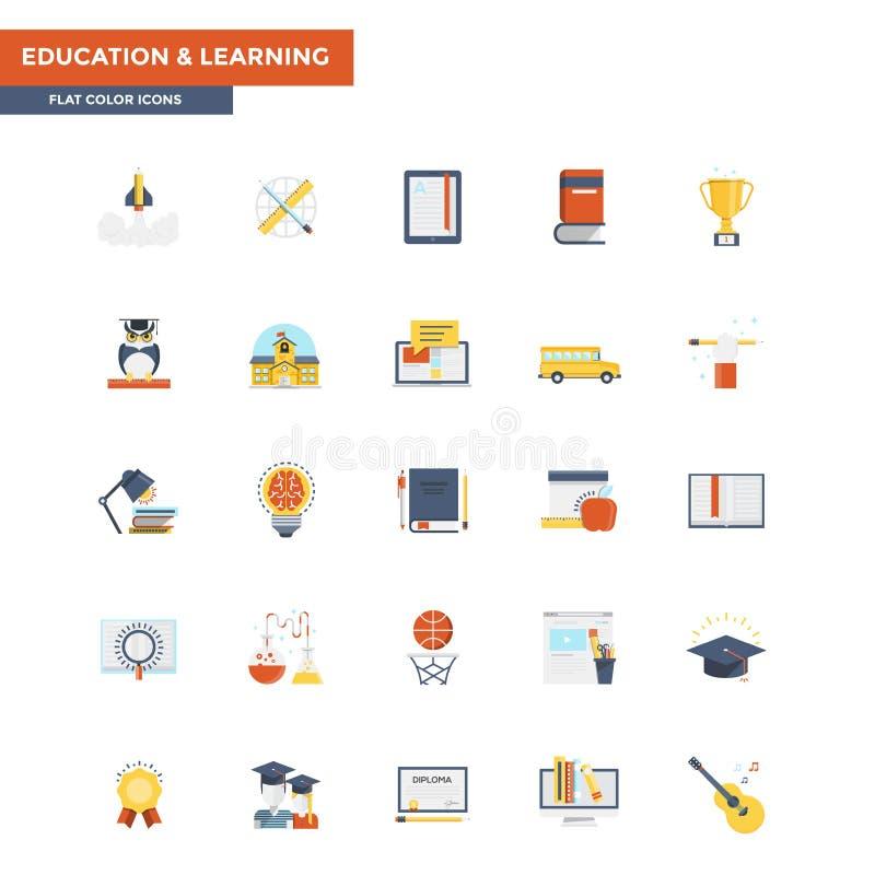 Educación y aprendizaje planos de los iconos del color libre illustration
