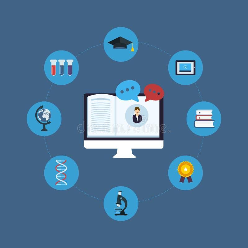 Educación y cursos en línea libre illustration