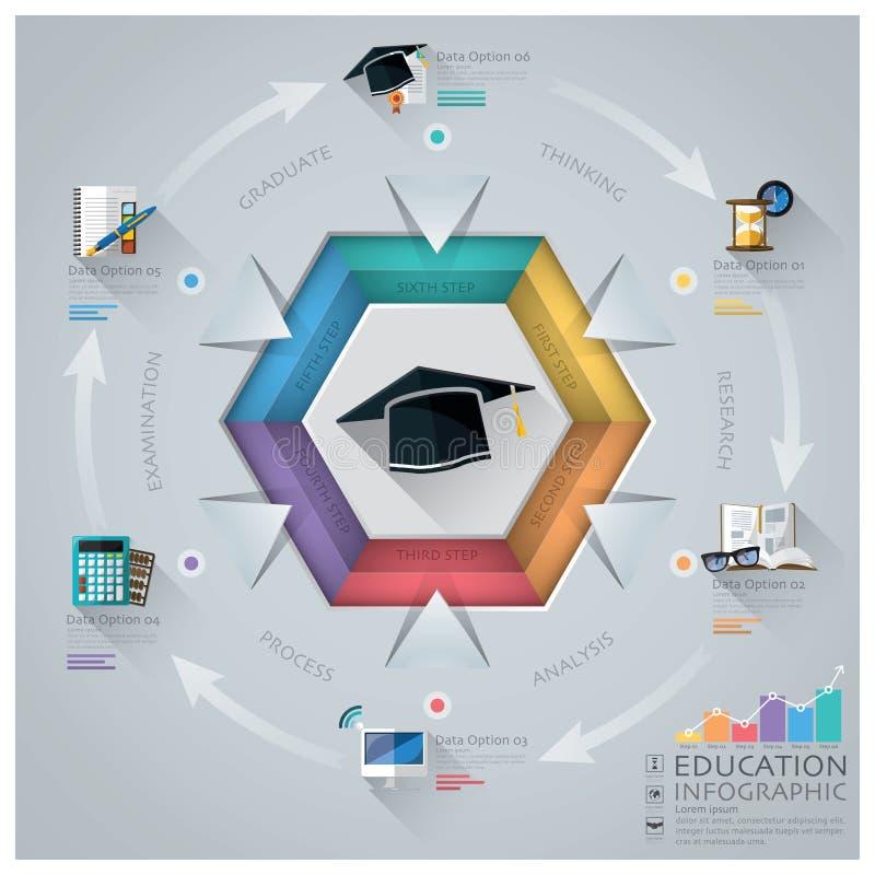 Educación y graduación Infographic con el diagrama del hexágono stock de ilustración
