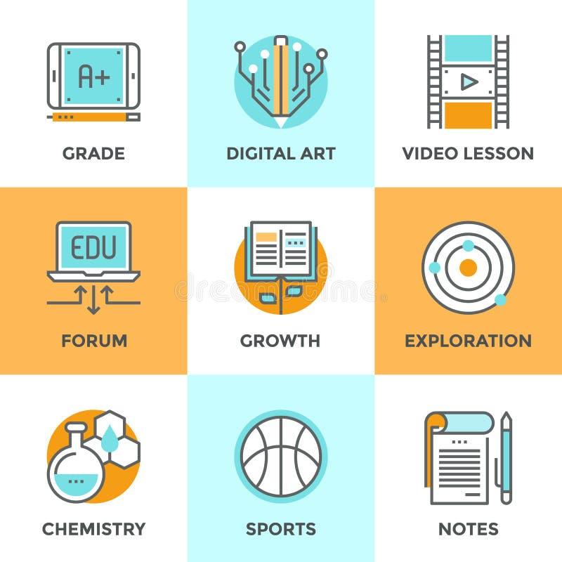 Educación y línea iconos del aprendizaje fijados libre illustration