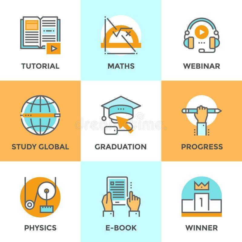 Educación y línea iconos del estudio fijados ilustración del vector