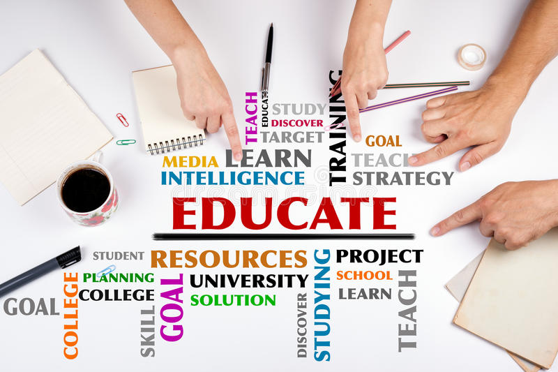 EDUCATE word cloud. The meeting at the white office table.  stock photos