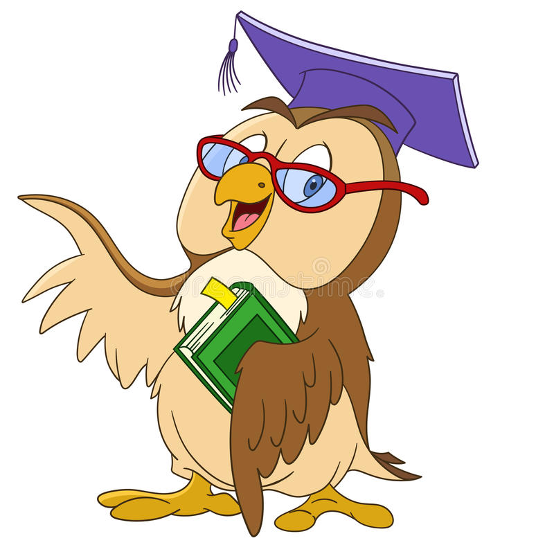 Educated cartoon owl stock illustration