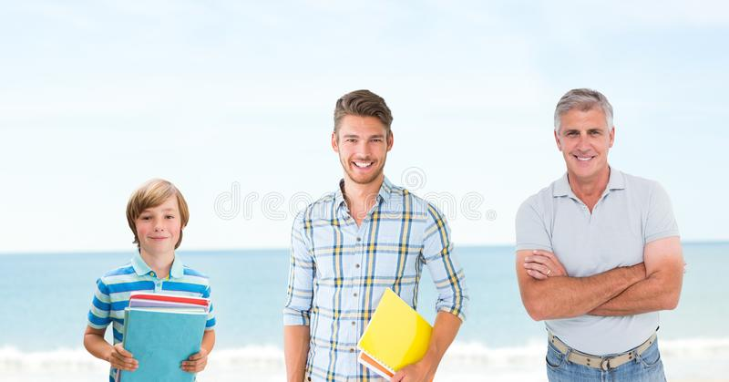 Educated men of age generations growing up with sea royalty free stock photos