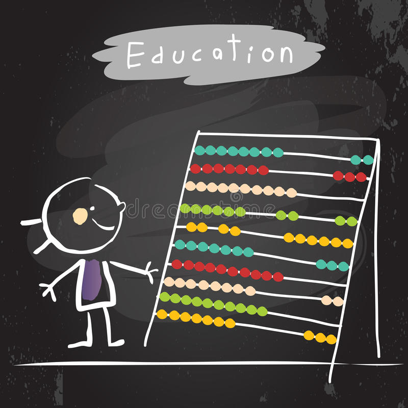Education abacus kid. Happy kid with abacus. Education vector illustration, chalk on blackboard hand drawn doodle drawing stock illustration
