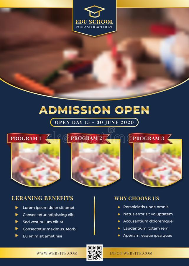Education, Admission, Back To Shool Flyer Creative Design stock illustration