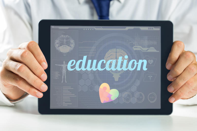 Education against medical biology interface in blue. The word education and autism awareness heart against medical biology interface in blue royalty free illustration