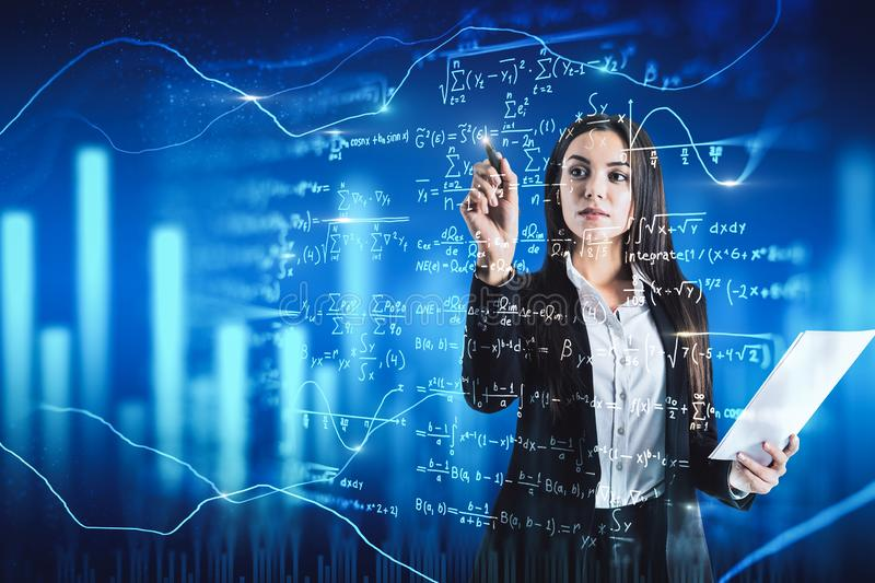 Education and algorithm concept. Attractive businesswoman writing mathematical formulas on blurry background. Education and algorithm concept. Double exposure stock illustration
