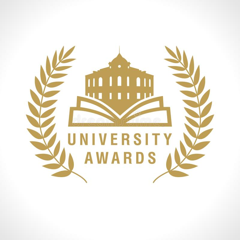 Education award with open book and old building royalty free illustration