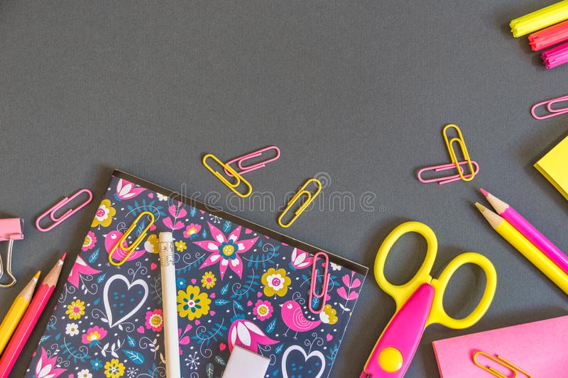 Education or back to school background. Back to school background with colorful school supplies. Top view with copy space royalty free stock image