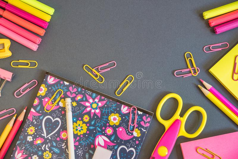 Education or back to school background. Back to school background with colorful school supplies. Top view with copy space stock images