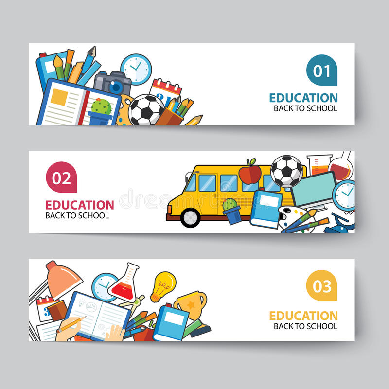Education and back to school banner concept flat design stock illustration
