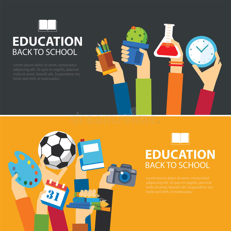 Education and back to school banner flat design royalty free illustration