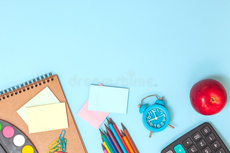 Education or back to school concept. Flat lay royalty free stock image