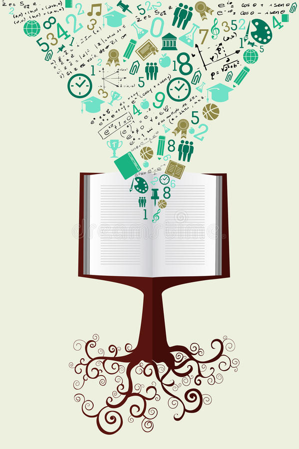 Education back to school green icons book tree. royalty free stock photos