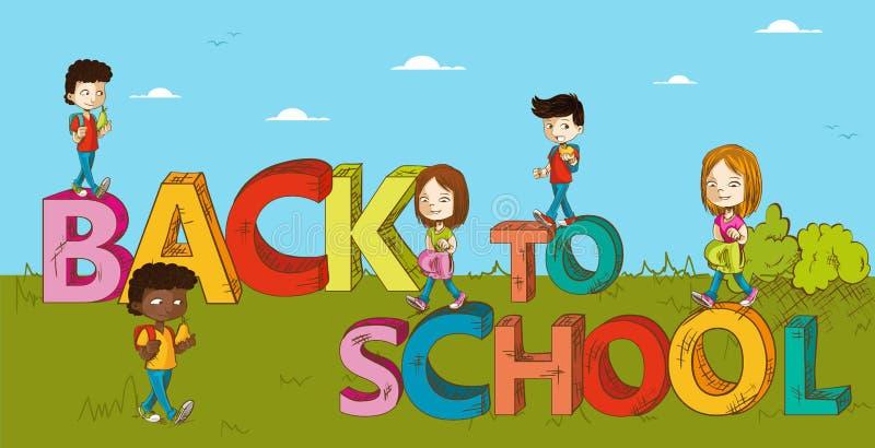Education back to school kids cartoon. vector illustration