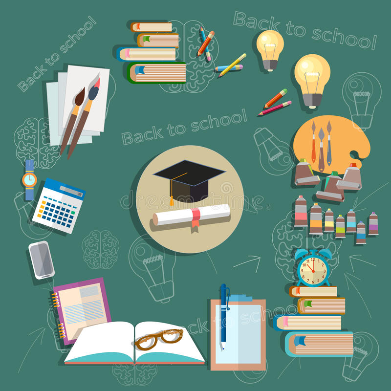 Education back to school school subjects diploma exams school vector illustration