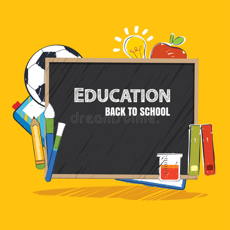 Education banner and back to school background template vector illustration