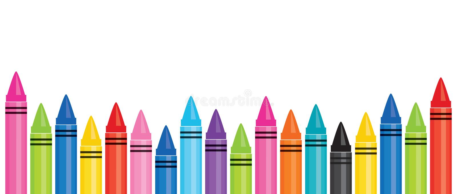Education banner template with colorful crayons 2 stock illustration