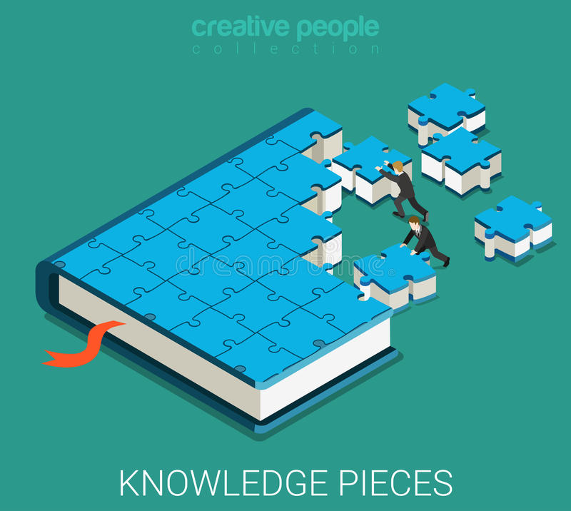 Education book of puzzle flat 3d isometric vector royalty free illustration
