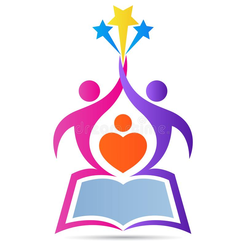 Education book school logo emblem aim high reach star vector design royalty free illustration