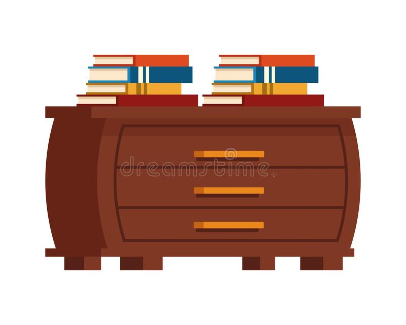 Education books piled up on drawer. Vector illustration graphic design vector illustration