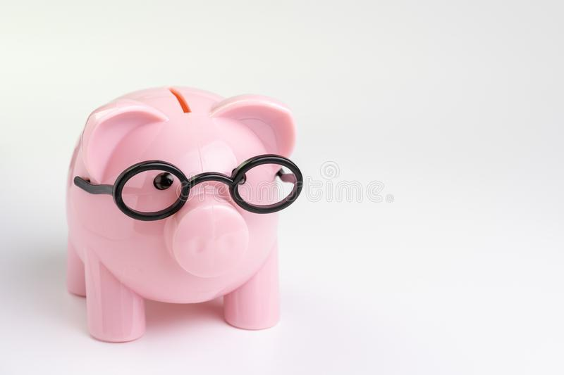 Education budget, cost or investment calculation and financial activity concept, pink piggy bank wearing glasses on white. Background with copy space stock photos