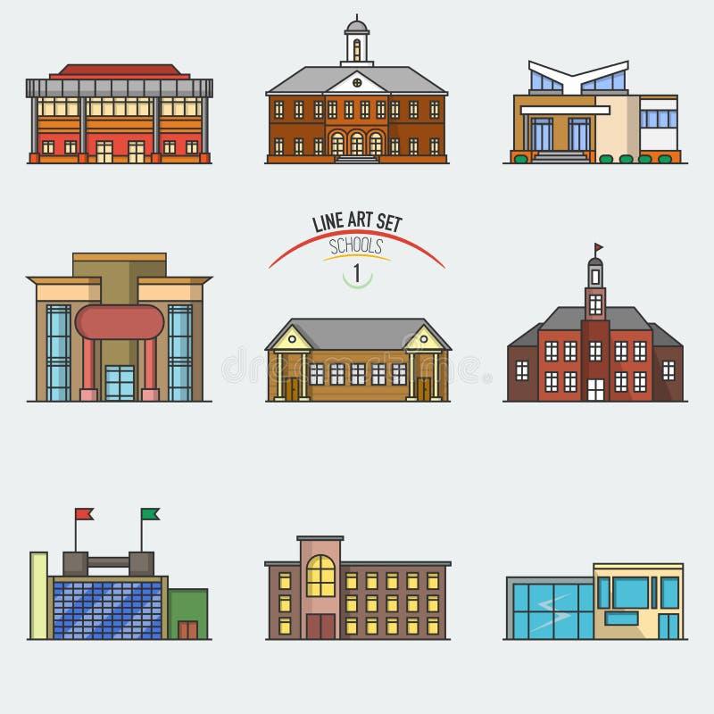 Free Education Buildings Set. Stock Image - 79600271