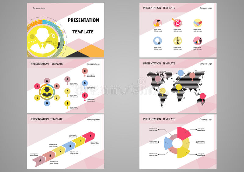 Education or business presentation template set. royalty free illustration