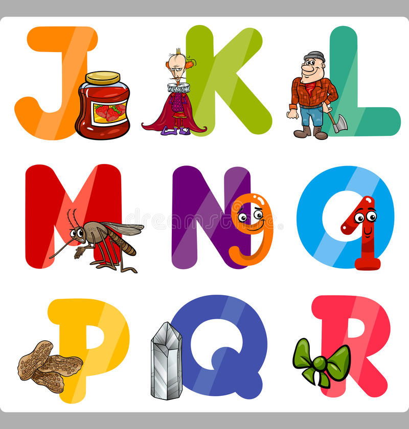 Education Cartoon Alphabet Letters for Kids. Cartoon Illustration of Funny Capital Letters Alphabet with Objects for Reading and Writing Education for Children stock illustration