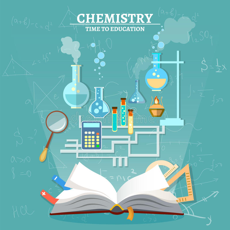 Education chemistry lesson open book test tube. Scientific experiment vector illustration stock illustration