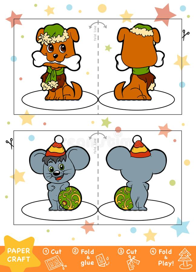 Education Christmas Paper Crafts for children, Dog and Mouse vector illustration