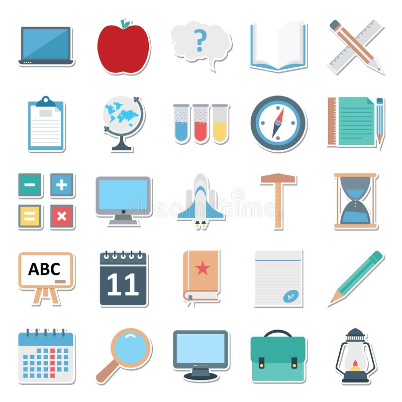 Education Color Isolated Vector Icons Editable Best For Education Projects stock illustration
