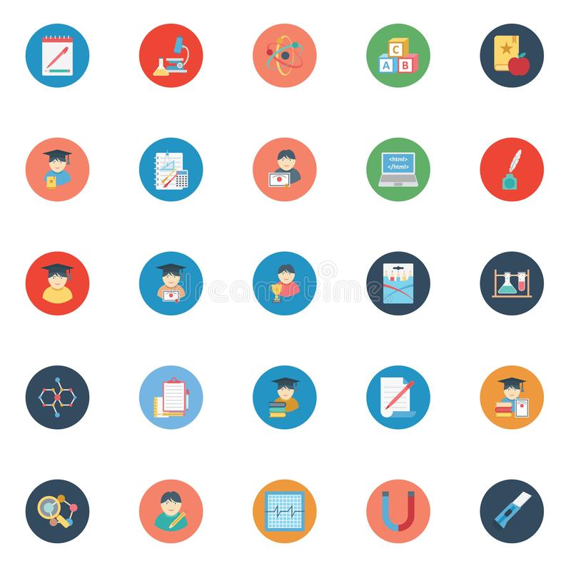 Education color Isolated Vector icons pack that can be easily modified or edit vector illustration