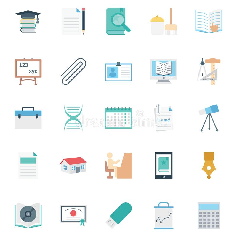 Education color Isolated Vector icons pack that can be easily modified or edit stock illustration