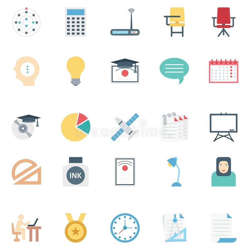 Education color Isolated Vector icons pack that can be easily modified or edit royalty free illustration