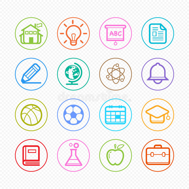 Education Color Line Icons On White Background - Vector ...
