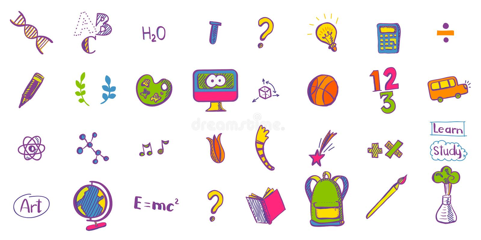 Education colored doodle icons royalty free illustration